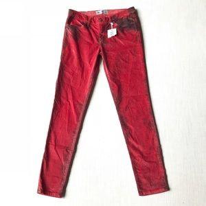 Wildfox Velvet Red Skinny Jeans, Sample, NWT